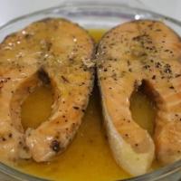 Salmon fish creamy with sauce